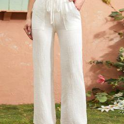 Tie Waist Patch Pocket Straight Leg Pants | SHEIN