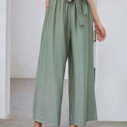 Self Tie Wide Leg Pants | SHEIN