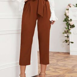 Solid Self Tie Cropped Pants | SHEIN