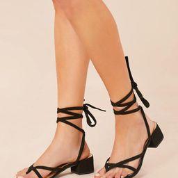 Ankle Wrap Open Toe Low Block Heel Sandals | SHEIN