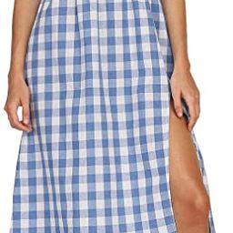 Lovinchic Women's Summer Puff Sleeves Split Midi Dress Casual Plaid Square Neck Long Dress | Amazon (US)