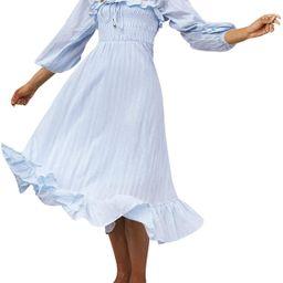 R.Vivimos Women's Linen Fall Long Sleeves Stripes Ruffled Boho Casual A-Line Flowy Midi Dresses | Amazon (US)