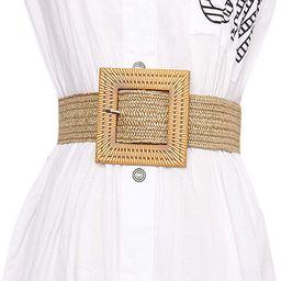 Women Skinny Dress Belt, Fashion Straw Woven Elastic Stretch Waist Band Wood Buckle Belt | Amazon (US)