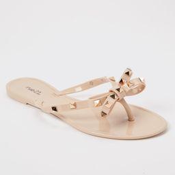 Tan Studded Bow Jelly Flip Flops | rue21
