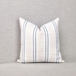 Cream and Blue Striped Pillow Cover // Blue and Beige // Woven   Etsy   Etsy (US)
