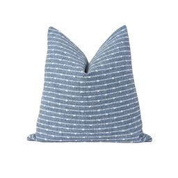 Marine Blue Pillow Cover Woven Stripe Pillow Cover Double   Etsy   Etsy (US)