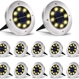 Aogist Solar Ground Lights 12 Pack, 8 LED Solar Garden Lights, Waterproof Outdoor Solar Disk Ligh...   Amazon (US)