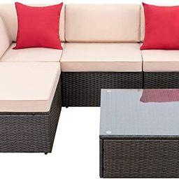 Devoko 5 Pieces Patio Furniture Sets All Weather Outdoor Sectional Sofa Manual Weaving Wicker Rat...   Amazon (US)