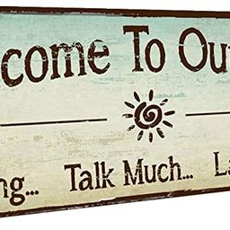 HBA Welcome to Our Patio Metal Sign, Outdoor Living, Rustic Decor   Amazon (US)