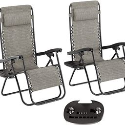 Lavish Home Zero Gravity Lounge Chairs- Set of 2, Gray   Amazon (US)