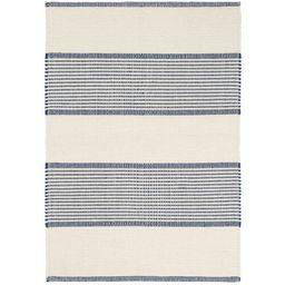 La Mirada Striped Handmade Flatweave Cotton Ivory/Blue Area Rug   Wayfair North America