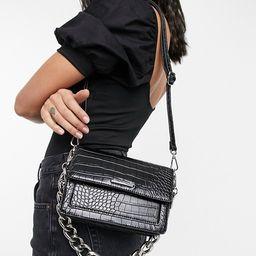 Bershka moc croc cross body bag with thick chain in black   ASOS (Global)