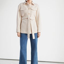 Oversized Belted Patch Pocket Overshirt   & Other Stories