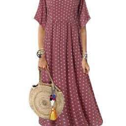 ZANZEA Womens Polka Dot Short Sleeve Long Dresses Baggy Kaftan Maxi | Walmart (US)