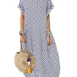 ZANZEA Women O Neck Short Sleeve Dot Printing Dress With Pockets Maxi Dress | Walmart (US)