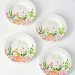 Green & White Floral Plate - Set of Four   Zulily