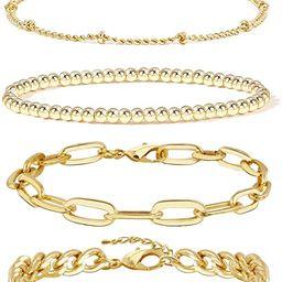 Gold Bracelets for Women Girls 14K Gold Plated Dainty Link Paperclip Choker Bracelet Stack Gold S...   Amazon (US)