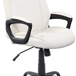 Amazon Basics Classic Puresoft PU-Padded Mid-Back Office Computer Desk Chair with Armrest - Cream | Amazon (US)