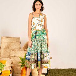 mixed prints  bow top midi dress | FarmRio