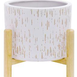 Better Homes & Gardens Ceramic Round Ceramic and Wood Planter & Stand Set | Walmart (US)