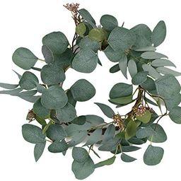 "idyllic 12"" Artificial Eucalyptus Wreath Large Green Leaves Rustic Farmhouse Decorative Wreath ... | Amazon (US)"