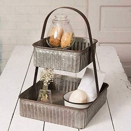 Colonial Tin Works Rustic Industrial Farmhouse Chic Two Tiered Corrugated Square Tray,grey | Amazon (US)