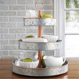 HH Farmhouse Style Copper Rim - Rustic Kitchen Vintage Galvanized 3 Tier Serving Tray, Coffee Bar... | Amazon (US)
