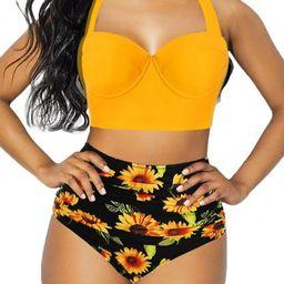 Women 2 Pcs Swimsuit High Waisted Bathing Suits Floral Printing Halter Bandage Bikini Set | Walmart (US)