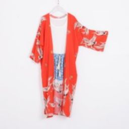Red Crane Kimono, Kimono With Sleeve, Summer Cover Up, Holiday Dress, Beach Cardigan, Kimonos, Kimon | Etsy (US)