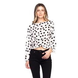 OFASHIONUSA Women's Polka Dot Long Sleeve Round Neckline Back Self Tie Blouse Shirt Top (WhiteBlack, | Walmart (US)