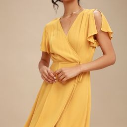 Harbor Point Mustard Yellow Wrap Dress | Lulus (US)