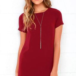 Shift and Shout Wine Red Shift Dress | Lulus (US)