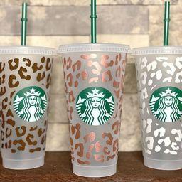 Custom Cheetah Starbucks tumbler, Leopard Reusable 24oz Venti cold cup, Personalized animal desig...   Etsy (US)