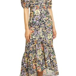Floral Print Ruffle Hem Midi Dress | Nordstrom
