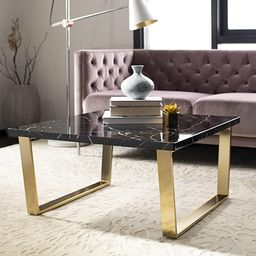 Safavieh Home Carmen Glam Black Faux Marble and Brass Coffee Table | Amazon (US)