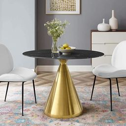 """Modway EEI-5330-GLD-BLK Tupelo 42"""" Oval Artificial Marble, Gold Black Dining Room Table, 42x28 in... 
