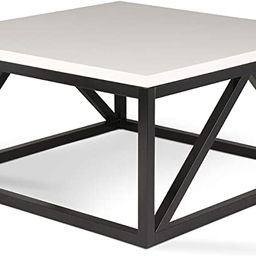 Kate and Laurel Kaya Two-Toned Wood Square Coffee Table with White Top and Black Base | Amazon (US)