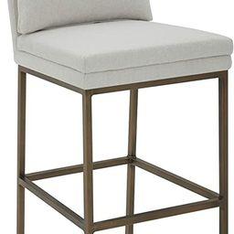 "Amazon Brand – Rivet Lundberg Contemporary Upholstered Barstool with Brass Legs, 44.5""H, Chalk | Amazon (US)"