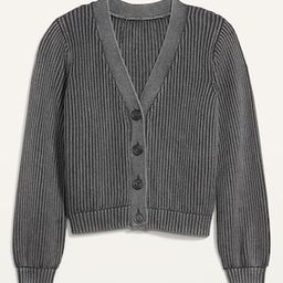 Acid-Wash Shaker-Stitch Button-Front Cardigan Sweater for Women | Old Navy (US)