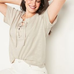 Loose Slub-Knit Lace-Up Top for Women   Old Navy (US)