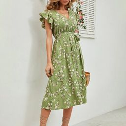 Floral Belted Ruffle Sleeve Dress | SHEIN