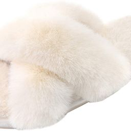 Women's Cross Band Slippers Soft Plush Furry Cozy Open Toe House Shoes Indoor Outdoor Faux Rabbit... | Amazon (US)