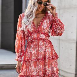 Ditsy Floral Print Backless Frill Trim A-line Dress | SHEIN