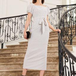 SHEIN Square Neck Puff Sleeve Self Belted Polka Dot Dress | SHEIN