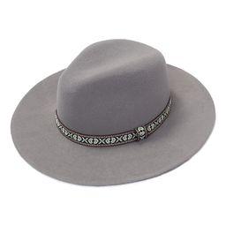 Modadorn Women's Fedoras GRAY - Gray Geometric-Accent Wool Panama Hat | Zulily