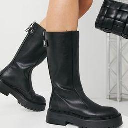 Bershka faux leather welly boot in black | ASOS (Global)