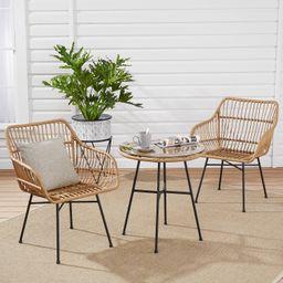 Mainstays Brayhills Bistro Patio Furniture Set, Nature, 3-Piece | Walmart (US)