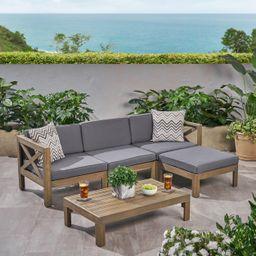 Rayan Outdoor Acacia Wood 5 Piece Sofa Set, Gray and Dark Gray | Walmart (US)