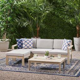 Makayla Ana Outdoor 3 Seater Acacia Wood Sofa Sectional with Cushions, Light Gray and Light Gray | Walmart (US)