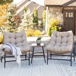 Manor Park Outdoor Patio Papasan Chairs, Set of 2, Natural | Walmart (US)
